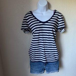 Navy and White Striped V-Neck T-Shirt